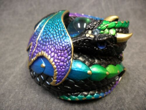 Windstone Editions NEW * Black Violet Peacock Curled Dragon * Statue Figure