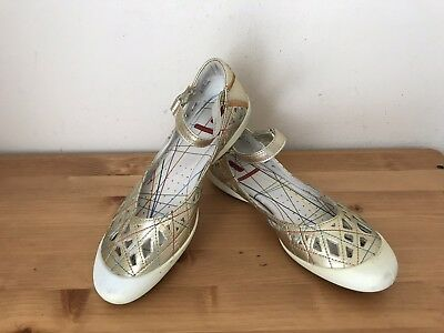 Gold Metallic Mary Janes (ECCO metallic gold cut-out leather mary janes flats shoes sz 37/ 7B )
