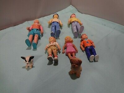 Vintage Fisher-Price Loving Family Doll House Lot of 8 - People and Dogs