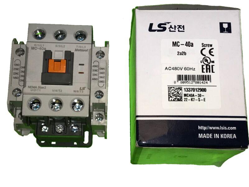 LS Metasol Contactor MC-40a 480VAC 2a2b Screw terminals