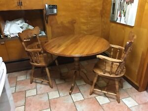Solid Maple Table with 2 Captain Chairs