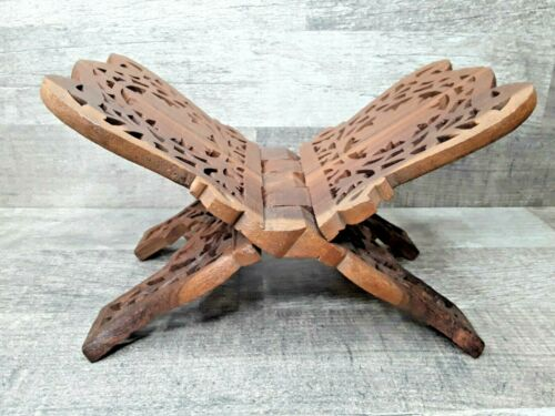 Vintage Large Hand Carved Folding Book Stand Made in India