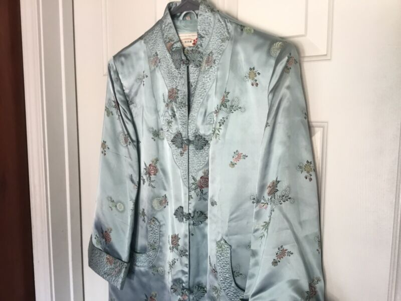 Peony Brand Shanghai China Cheongsam Style Silk Satin Robe Vintage 1960s Size 38