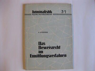 Volkspolizei kleine Fachbuchreihe Kriminalistik 7/1 Beweisrecht Ermittlungsverf.