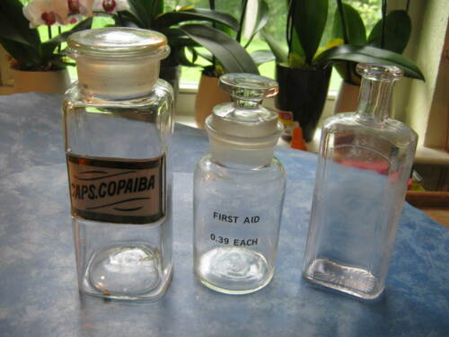 LOT OF 3 VINTAGE GLASS APOTHECARY PHARMACY BOTTLES Two with Stoppers