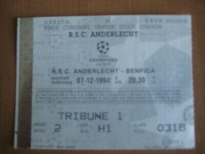 Ticket: Anderlecht - Benfica Lisbonne UEFA (7-12-94)