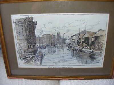 FRAMED AND MOUNTED UNDER GLASS WATERCOLOUR PRINT RIVER AIRE FROM LEEDS BRIDGE