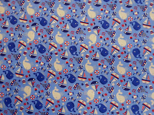 Nautical seaside blue childrens cotton jersey stretch for Nautical nursery fabric