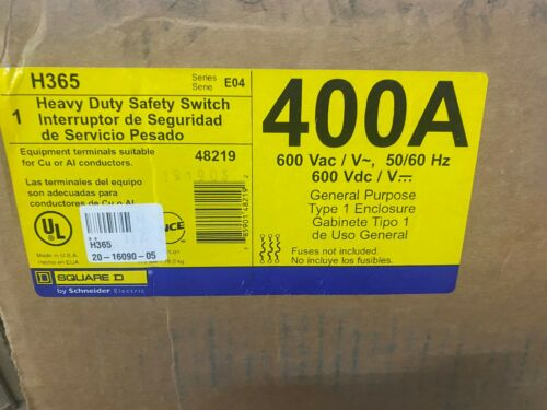 NEW Square D H365 400A 600V Fusible Safety Switch Disconnect Series D2 400 Amp