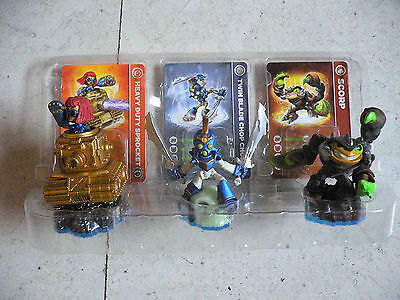 Skylander Set 3 Figuren - Heavy Duty Sprocket + Twin Blade Chop Chop + Scorp TOP