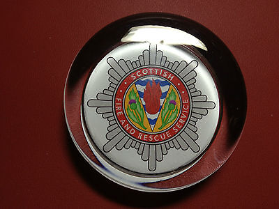 SCOTTISH  FIRE & RESCUE SERVICE   70mm  GLASS PAPERWEIGHT