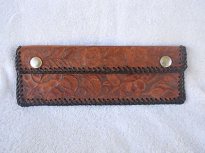 "Vintage - 9""x3""~ Hand Tooled Leather ~ Snap Wallet/Clutch Purse/Document Holder?"