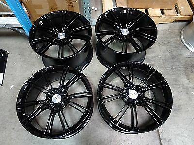 "(4) ASTON MARTIN VANQUISH FACTORY OEM BLACK 20"" WHEELS RIMS STAGGERED APPTECH"