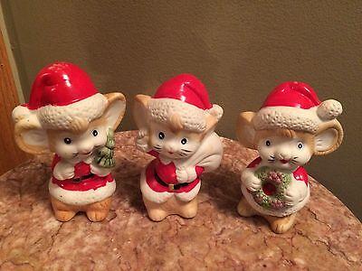 Vintage Artmark Porcelain Christmas Santa Claus mouse Mice Figurines Set 3 xmas