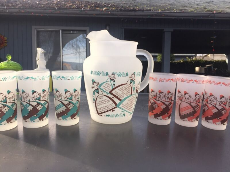 Vintage Gay Fad Frosted Pitcher & 6 Tumblers Signed Beautiful Set