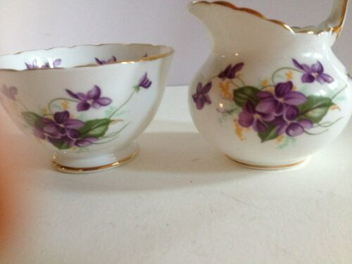 VINTAGE ROYAL CHELSEA ENGLISH BONE CHINA SUGAR & CREAMER SET PURPLE FLOWERS