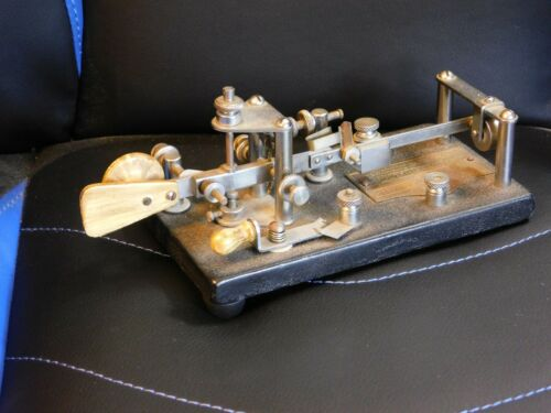Vintage Vibroplex Telegraph Key #113220 Wood handles