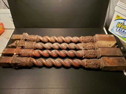 4 Victorian Ornate Carved wood Balusters Acanthus Leaves Barley Twist columns