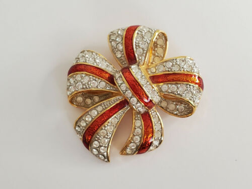 Joan Rivers Classics Collection Red Enamel with Crystals Bow Design Brooch