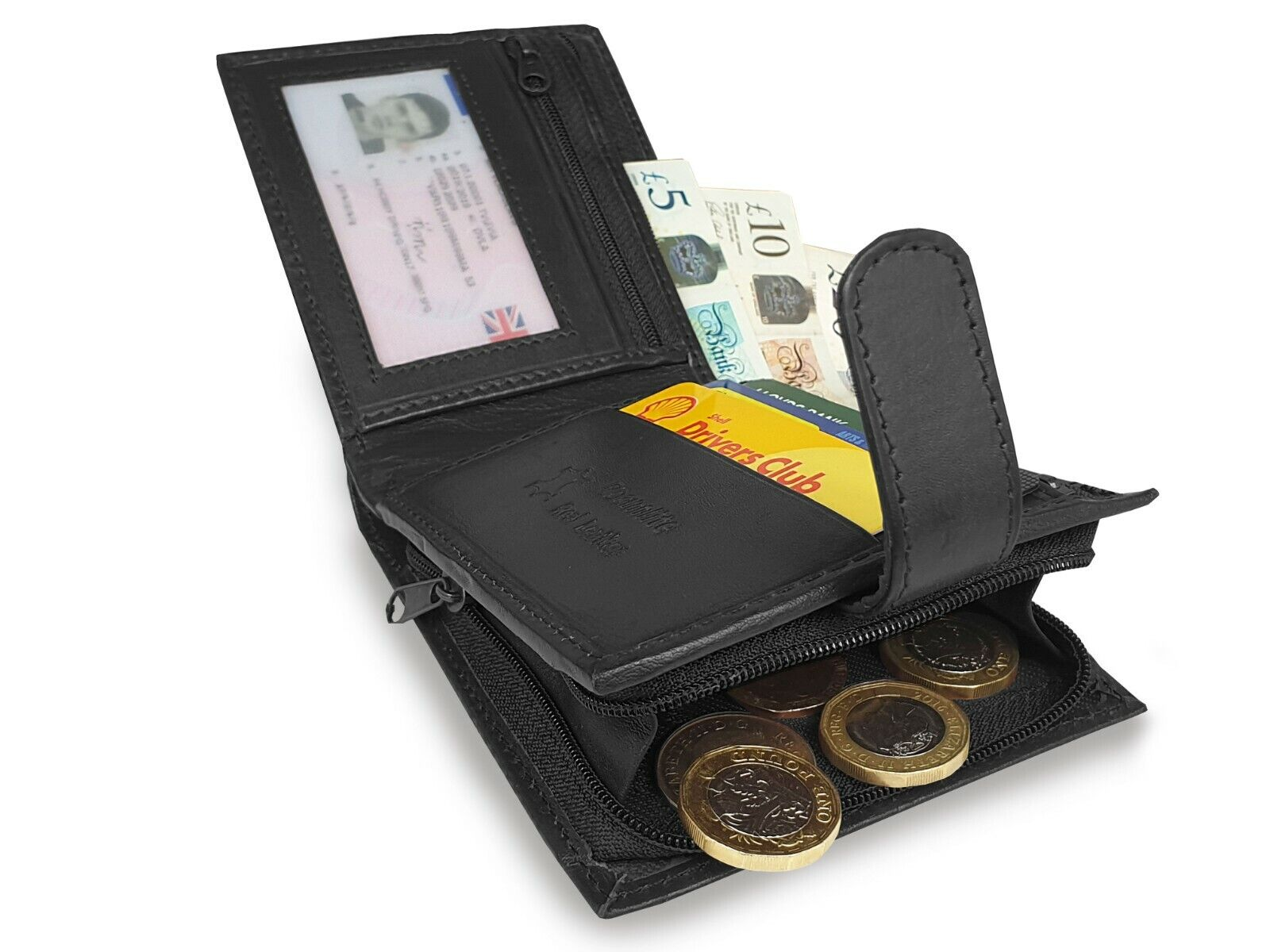 Designer Leather Mens Wallet Zipped Zip Up Note and Coin Pouch Black Roamlite