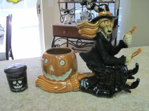 """Yankee Candle Boney Bunch """"Witch and Pumpkin"""" Candle Holder with Candle ~ 2012"""