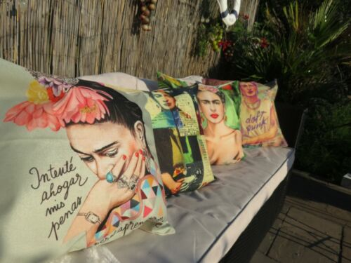 New+set+of+4+indoor+or+outdoor+cushion+Covers+Frida+Kahlo+Mexican+Artist.