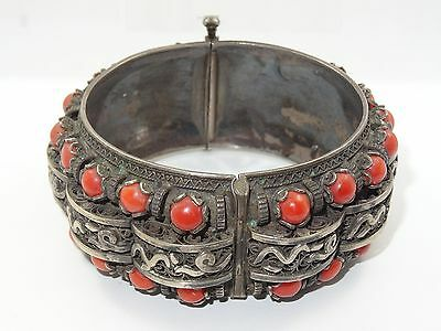 EXQUISITE ANTIQUE 19c. TIBETAN SILVER & CORAL CUFF HINGED BANGLE