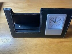 Desktop Clock With Built In Phone Stand Black Faux Leather