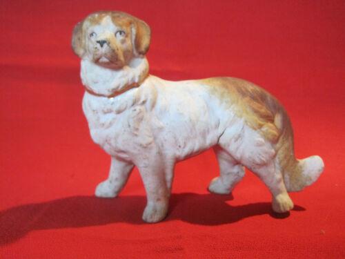 Vintage bisque herding dog figurine, red Great Pyrenees