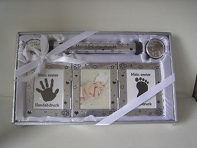 Babyset mit Bilderrahmen, Handabdruck / Fußabdruck, 2 Döschen, 1 Rolle, Geschenk