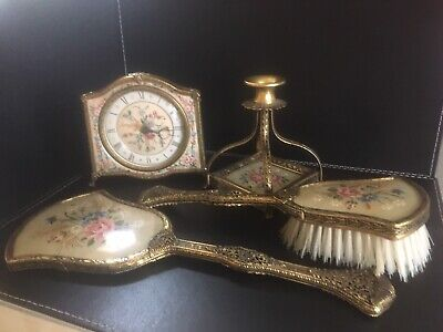 VINTAGE PETIT POINT BRASS FILIGREE ITEMS BRUSHES CANDLE STICK & CLOCK