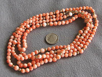 """48"""" Vintage Natural Taiwan Peachy Pink Coral Bead Necklace G/F Clasp"""
