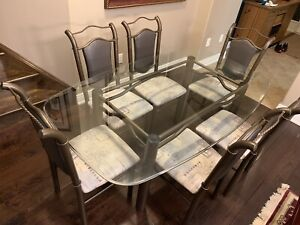 6-Chair Glass Kitchen Table Set