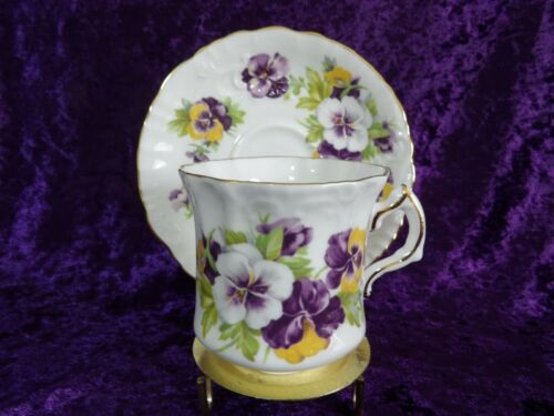 Hammersley China #H49 Purple and Yellow Violets Tea Cup and Saucer