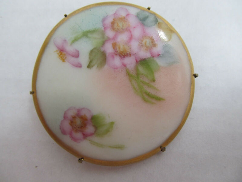 Vintage Hand Painted Porcelain  Floral Pin Brooch #16
