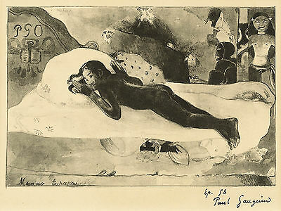 Gauguin Lithograph Reproduction: She is haunted by the Spirit - Fine Art Print
