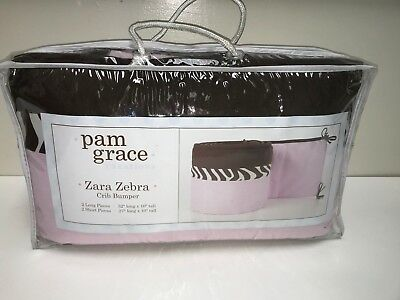 Pam Grace Creations New ZARA ZEBRA PINK/BROWN BABY CRIB BUMPER NURSERY DECOR