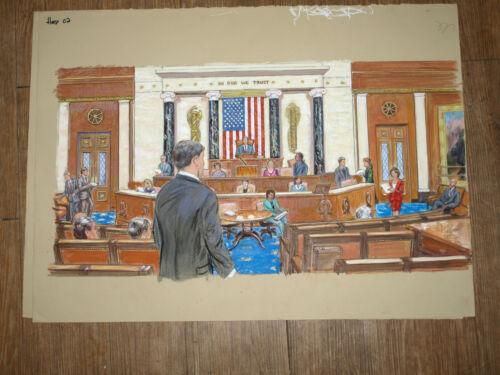 "US Senate In Session Original Art Courtroom Sketch Style 22""x30"""