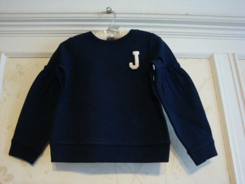 NWT $42 Janie And Jack Girls Logo Ruffle Sleeve Pullover  Top 8  Navy