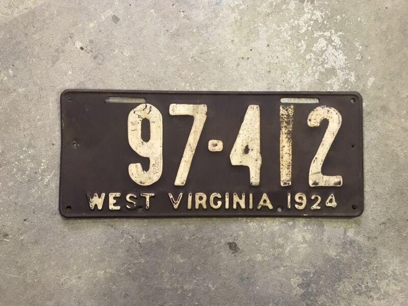 1924 West Virginia License Plate Wv Wva