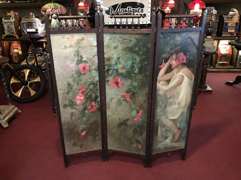 """1904 Oil Painting On Canvas Room Privacy Divider """"Watch Video"""""""