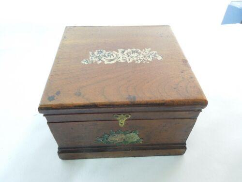 "Antique Wood Trinket Storage Box hinged Lid Brass Hardware Rose Design 5""x5""x3"""