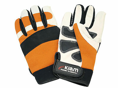 Kiam Reinforced Leather Padded Protective Chainsaw Gloves - Large Size 10