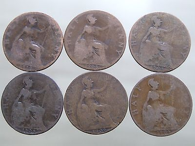 SIX ANTIQUE Edward VII Shove Halfpenny Coins - Free Postage (X01)