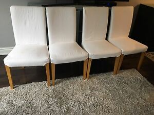 4 White IKEA chairs