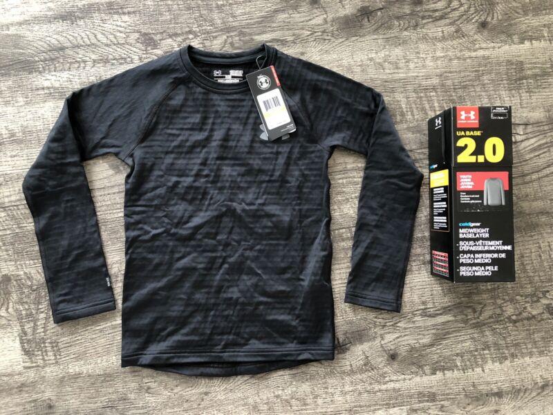 NEW Under Armour UA Base 2.0 Black Long Sleeve Crew Neck Shirt Youth Small $45