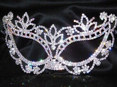 (Silver AB Rhinestone Crystal Masquerade Mask Mardi Gras Bridal /Prom Party /1340)