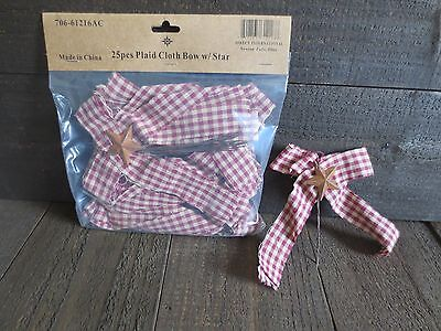 25 pc Lot Primitive Fabric Plaid Bows with Rusty Star Burgundy Homespun Ties New