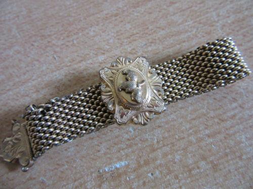 Antique Victorian Aesthetic Gold Filled Mesh slide bracelet