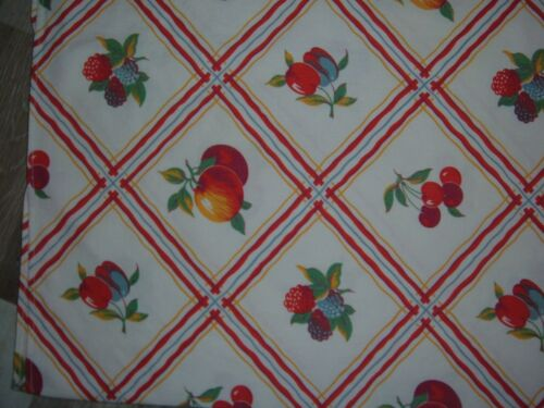 VINTAGE TABLECLOTH RED CHERRIES FRUITS